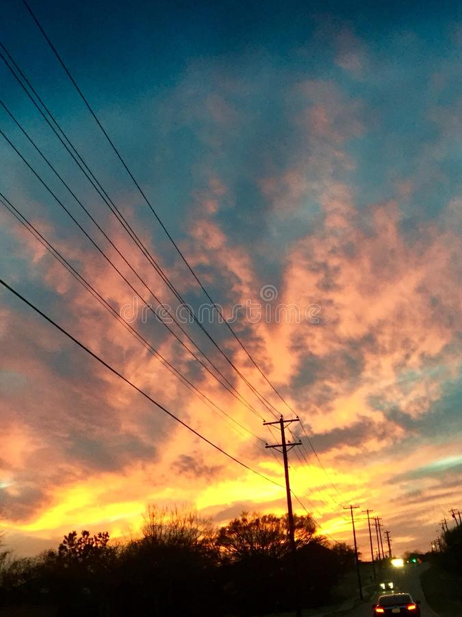 Texas Sunset bonito imagem de stock