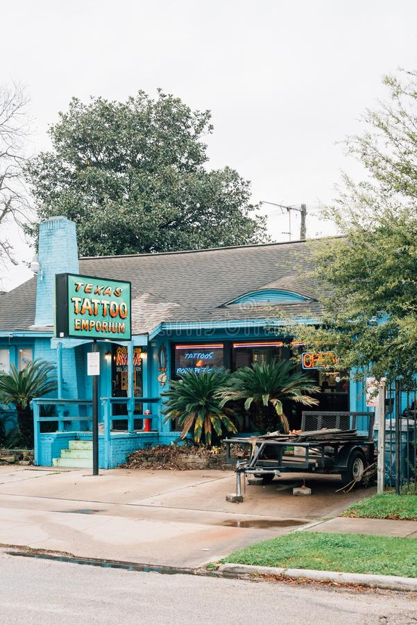 Texas Tattoo Emporium, i Montrose, Houston, Texas royaltyfri foto
