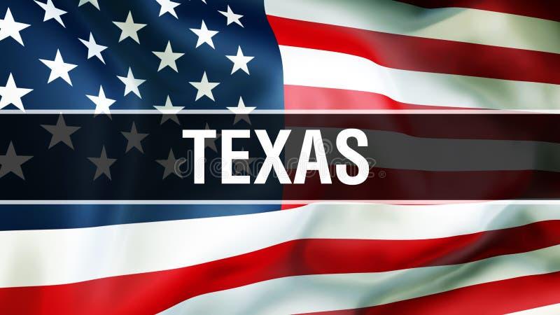 Texas tillstånd på en USA flaggabakgrund, tolkning 3D USA flagga som vinkar i vinden Stolt amerikanska flaggan som vinkar, stock illustrationer