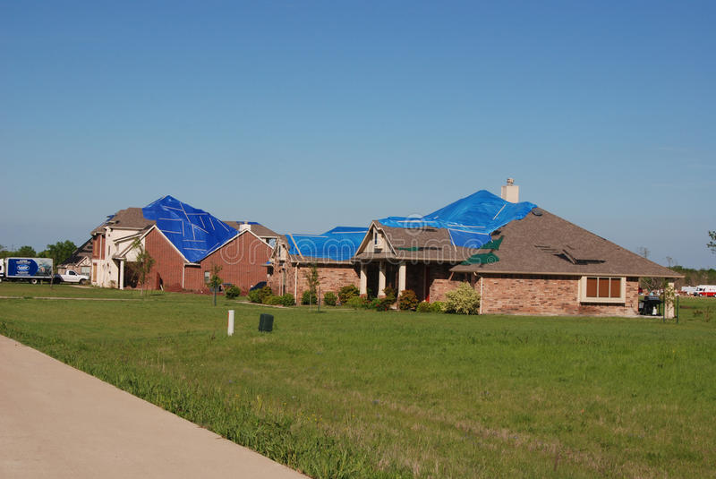 Texas Tornado - Roof Damage stock photography