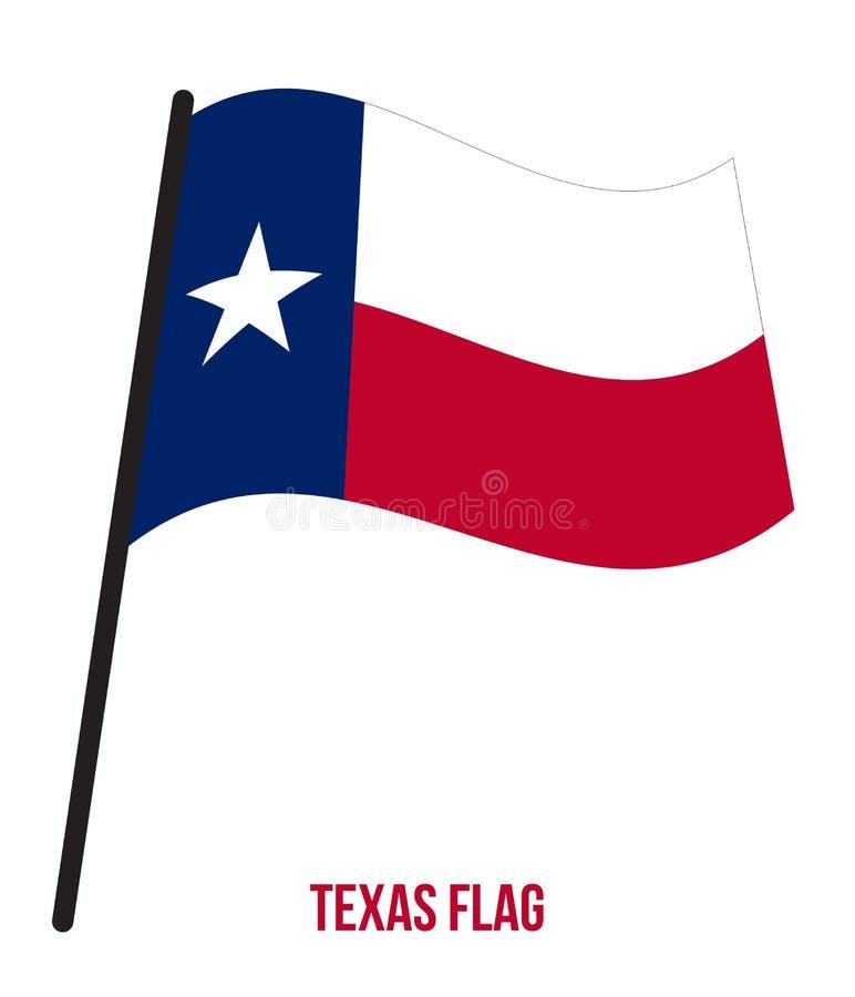 Texas U.S. State Flag Waving Vector Illustration on White Background. Flag of the United States of America stock illustration