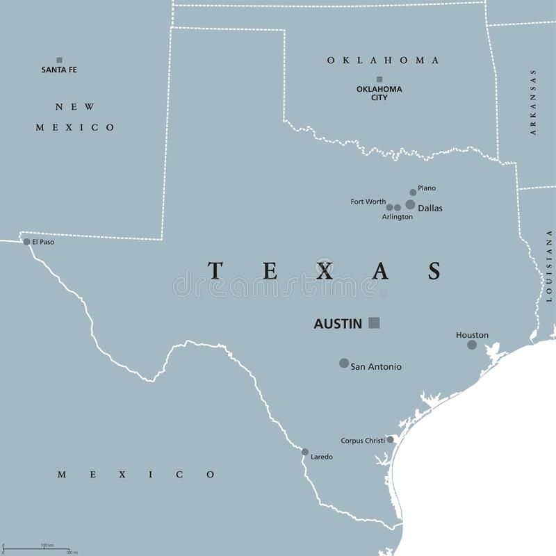 Texas United States political map vector illustration