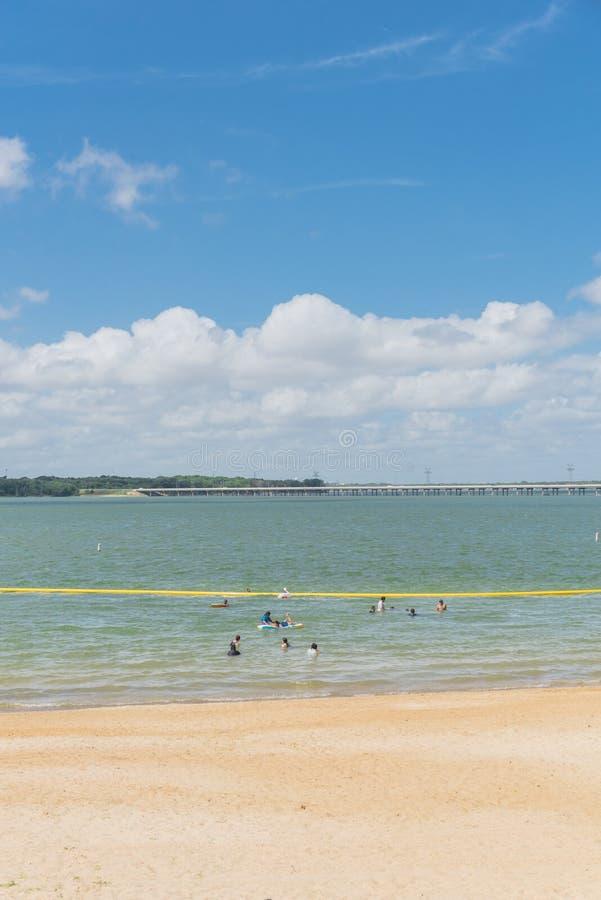 Beautiful white-sand beach Lynn Creek Park in Grand Prairie, Tex royalty free stock images