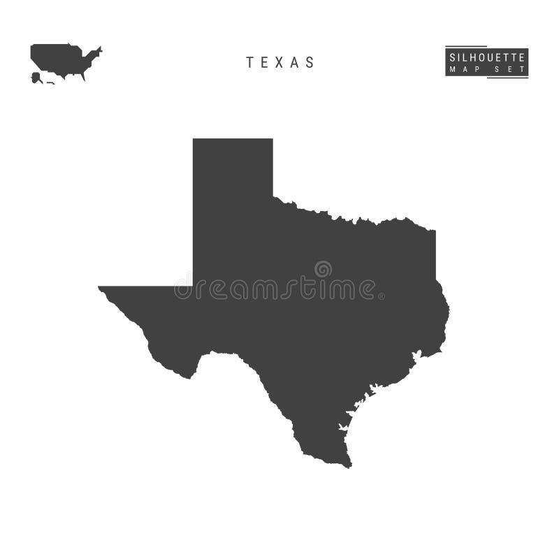 Texas USA påstår vektoröversikten som isoleras på vit bakgrund Hög-specificerad svart konturöversikt av Texas stock illustrationer