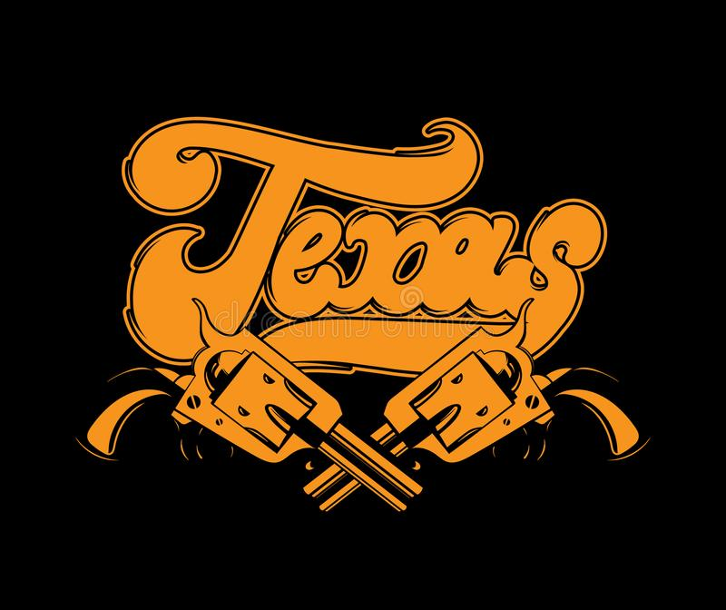 Texas. Vector handwritten lettering made in old school style isolated. Hand drawn illustration of guns. Template for card, poster, banner, print for t-shirt royalty free illustration