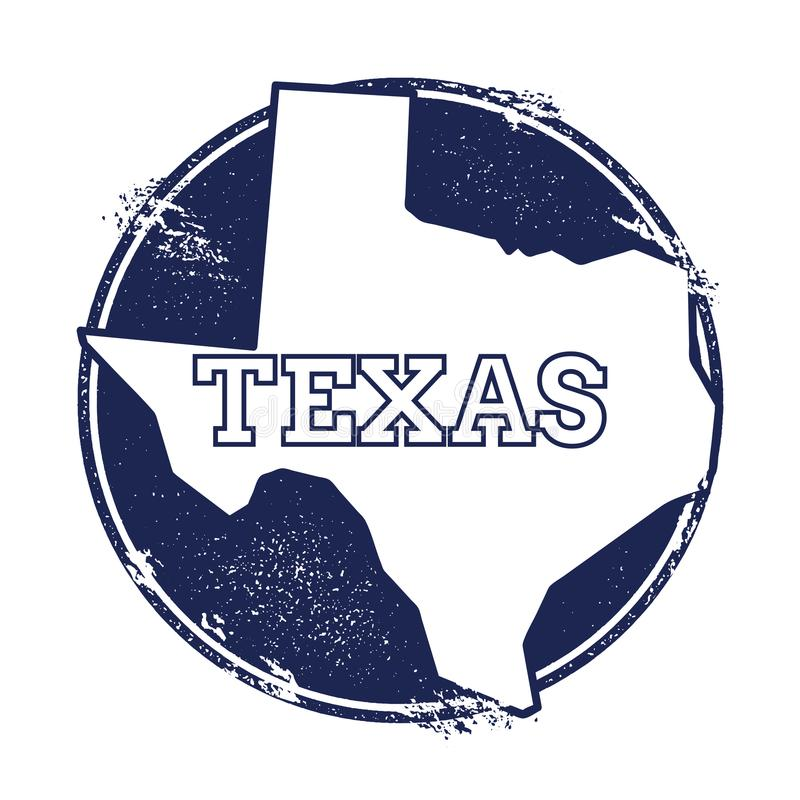 Texas vector map. Grunge rubber stamp with the name and map of Texas, vector illustration. Can be used as insignia, logotype, label, sticker or badge of USA royalty free illustration