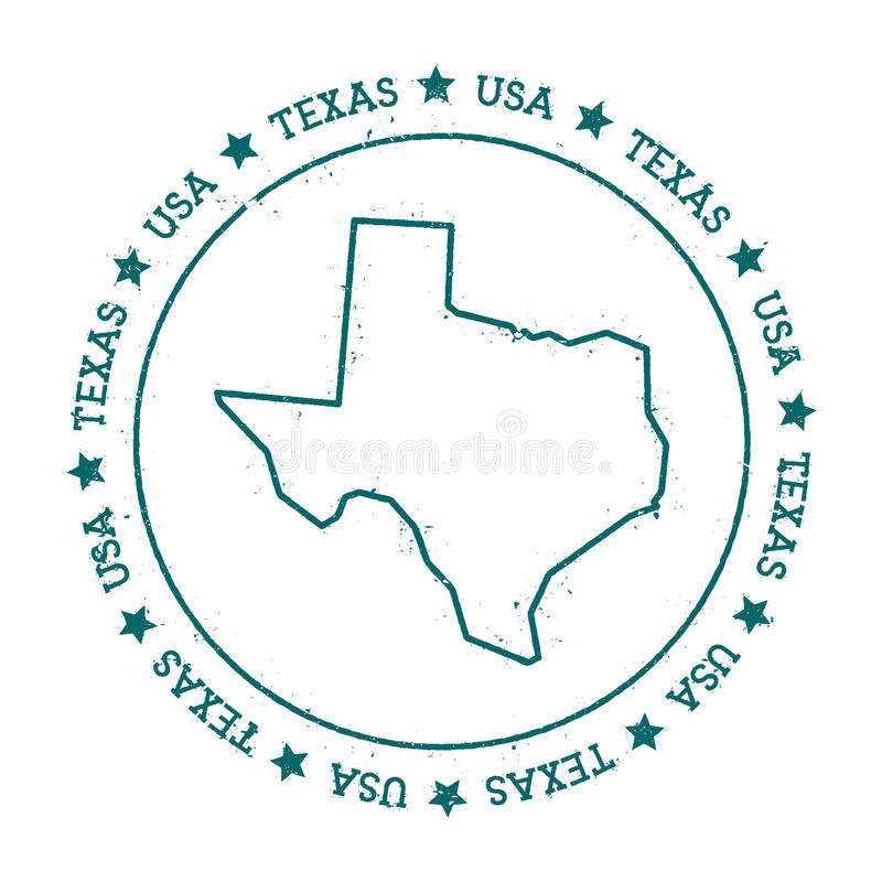 Texas vector map. Retro vintage insignia with US state map. Distressed visa stamp with Texas text wrapped around a circle and stars. USA state map vector stock illustration