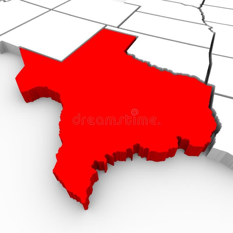 Texas verzadigt Kaart - 3d Illustratie vector illustratie