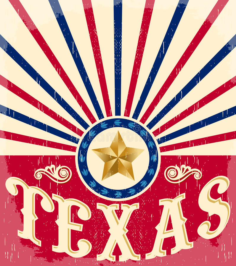 Texas Vintage poster - Card - western. Cowboy style, Grunge effects can be easily removed stock illustration