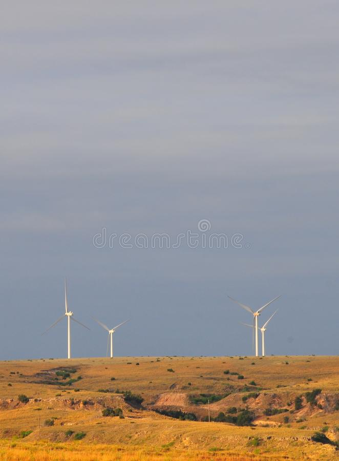 Texas Windmills avec le ciel bleu et les vagues d'or des herbes indigènes photos libres de droits