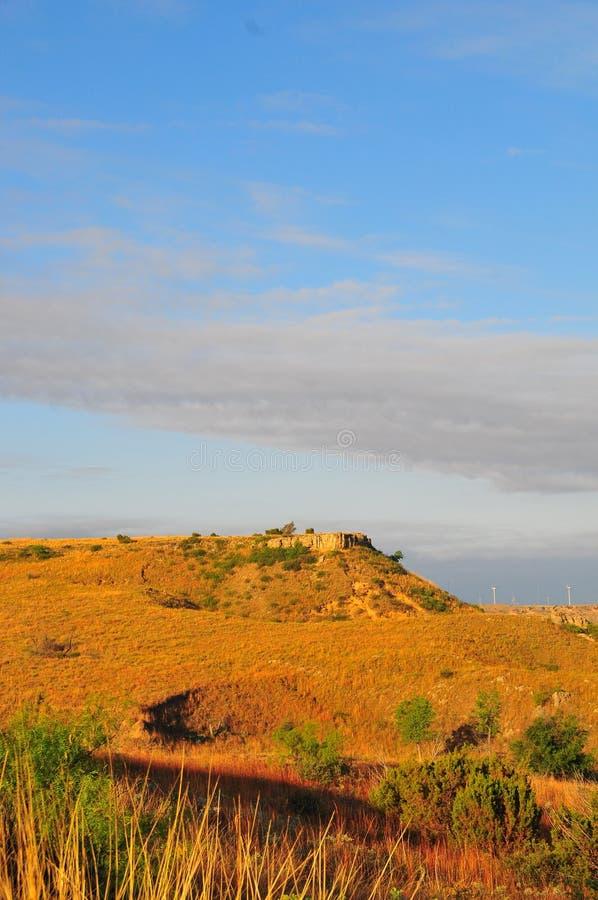 Texas Windmills mit blauem Himmel und goldenen Wellen von gebürtigen Gräsern stockbilder