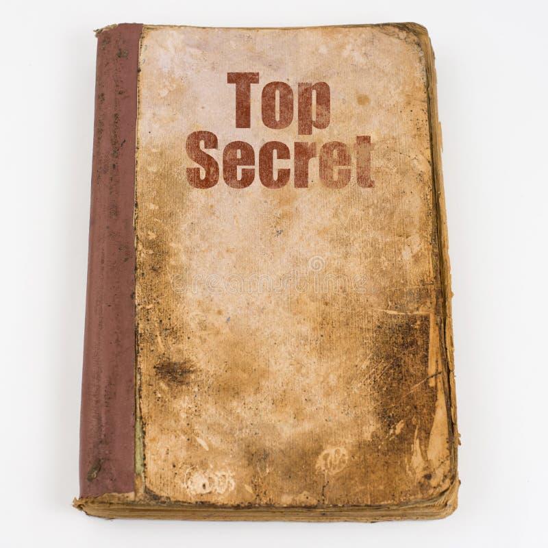 Textöverkant - hemligt skriftligt på gammalt smutsar ner boken Top beskådar royaltyfri foto