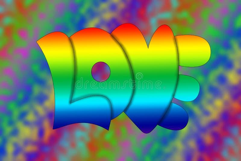 text 1960 för stlye för regnbåge s för hippiebokstavsförälskelse stock illustrationer