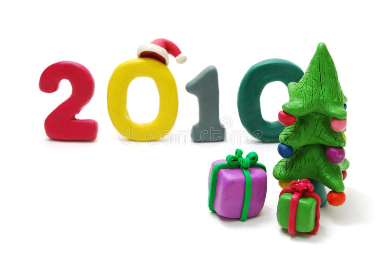 Text 2010, Christmas Tree and Gifts stock illustration
