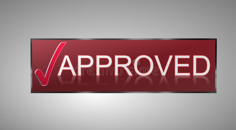 Approved. Text 'approved' in white uppercase letters in a brown rectangle preceded by a large red tick, pale gray background