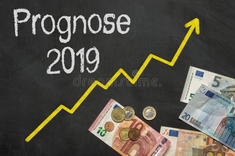 Text auf Tafel mit Geld mit den deutschen Wörtern Prognose 201 lizenzfreie stockbilder