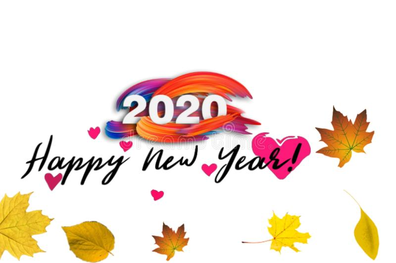 Text background of happy new year 2020 royalty free illustration