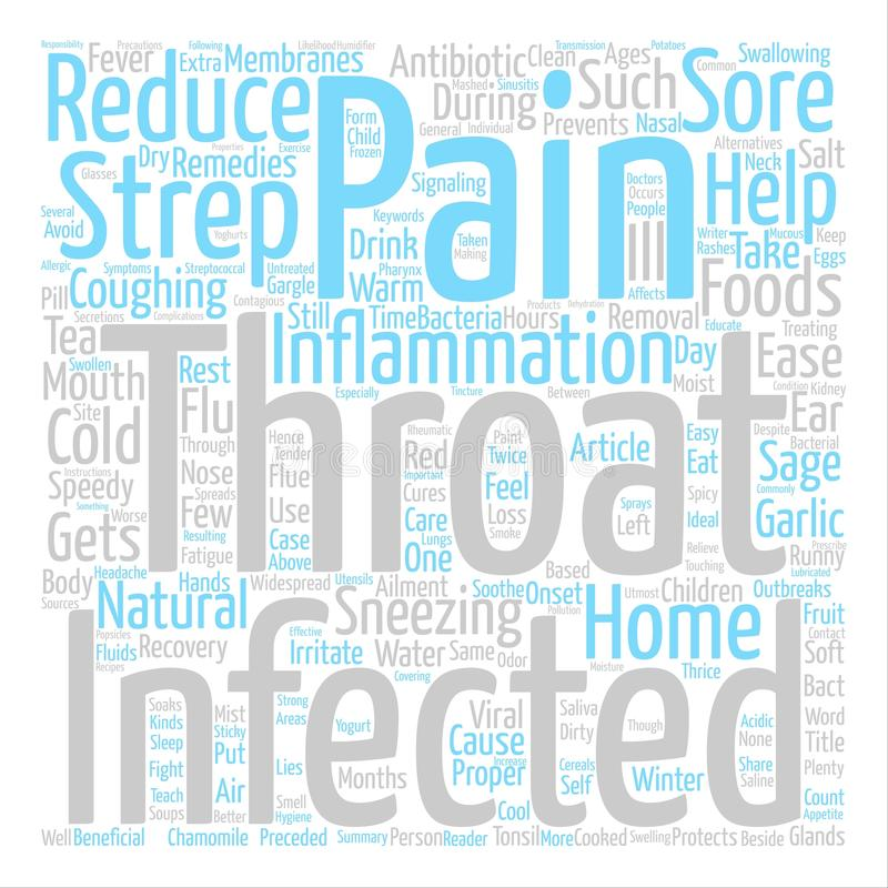 Text Background Word Cloud Concept. Home Remedies For Strep Throat text background word cloud concept royalty free illustration