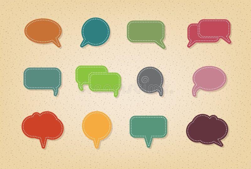 Text balloon Vector speech bubble icons. On vintage style