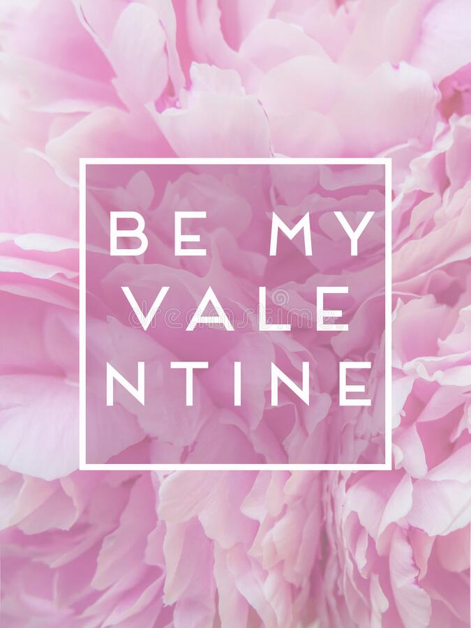 Text be my valentine in the frame against the background of pink peonies flowers. postcard royalty free stock images
