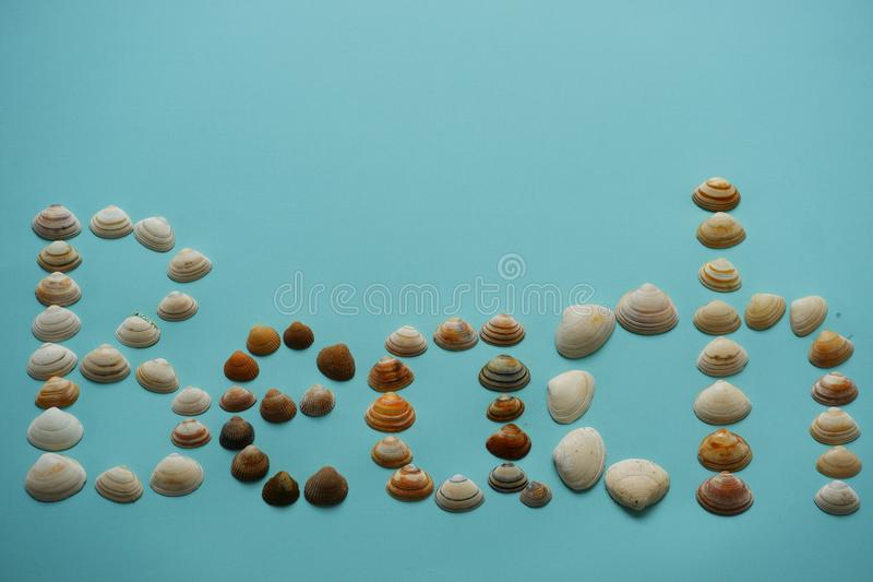 Text beach made with seashells blue background. Tekst beach made with seashells on blue background top view white brown shells stripes decoration conceptuel stock image