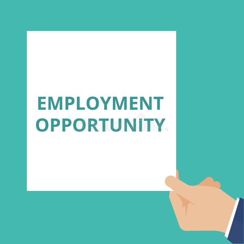 Text Beschäftigungsmöglichkeit lizenzfreie abbildung