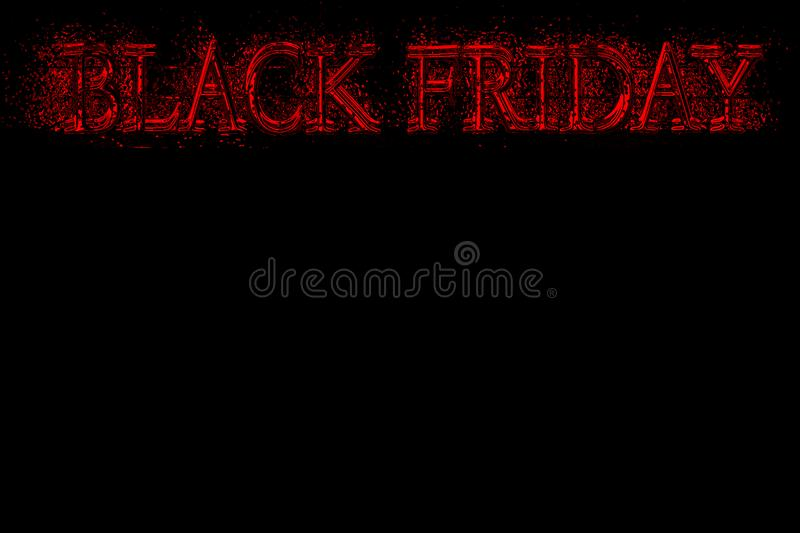 Text black friday close up on black background, template for sales and discounts, stock illustration
