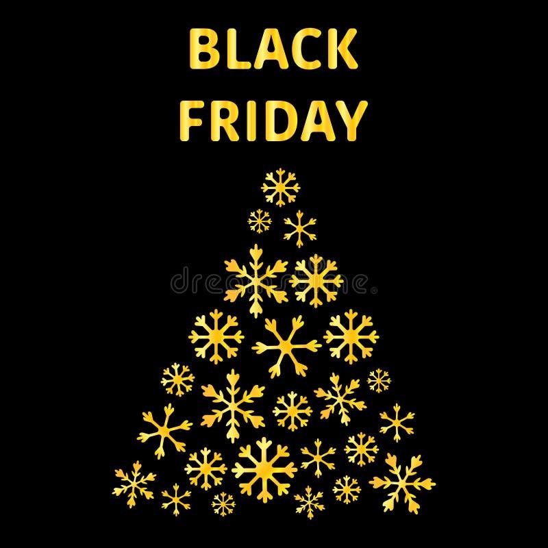 Text-Black Friday-Verkaufs-Plakat mit glänzenden frohen Weihnachten, kostbarer Baum der Tanne mit goldenen Schneeflocken Schwarze lizenzfreie abbildung