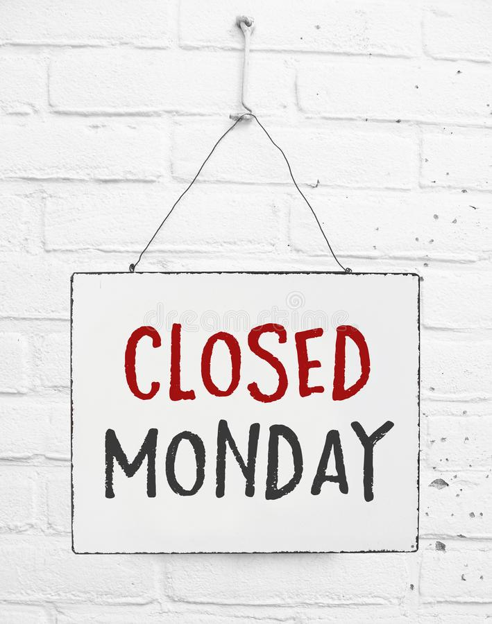 Text board closed on Monday banner not open sign for store royalty free stock photography