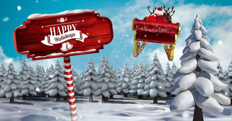 Text boas festas no letreiro de madeira rena na paisagem do inverno do Natal e do ` s de Santa trenó e ilustração do vetor