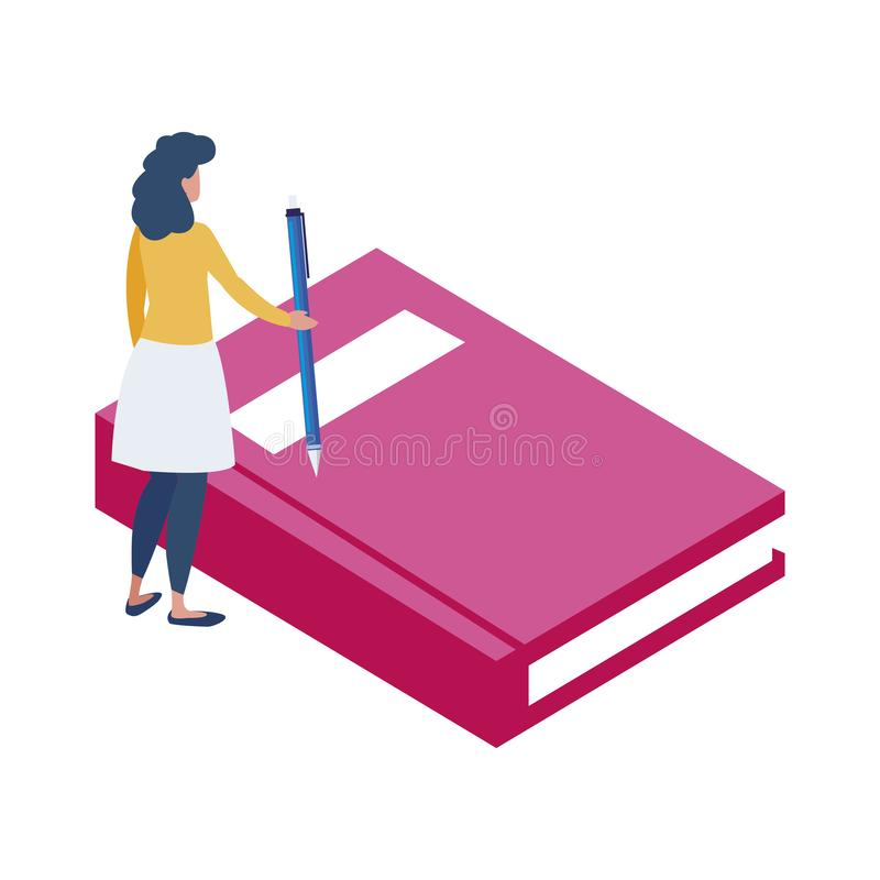 Text book with minipeople workers stock illustration