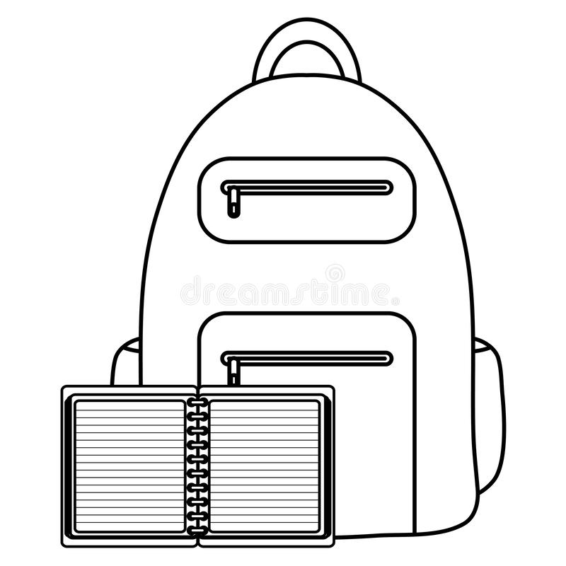 Text book school with schoolbag vector illustration