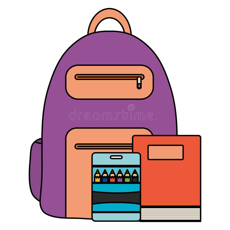 Text book school with schoolbag stock illustration