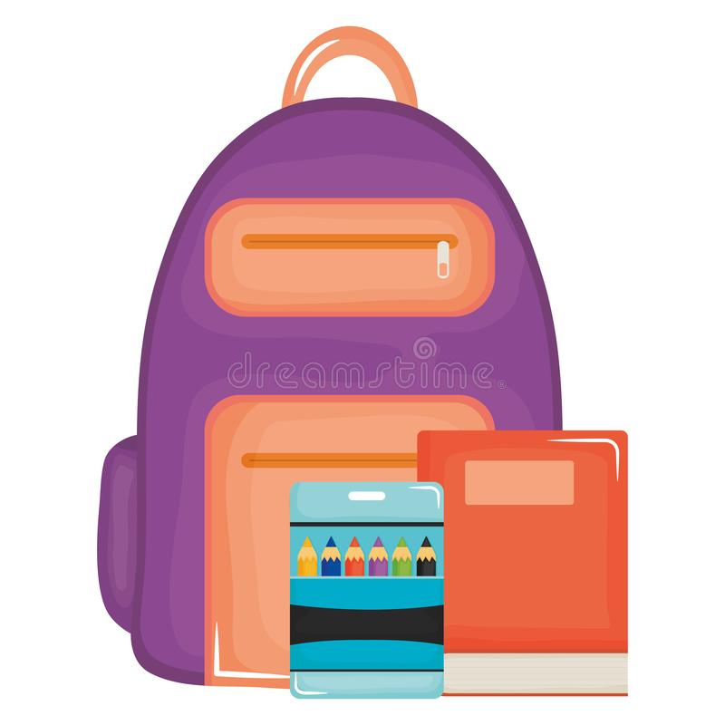 Text book school with schoolbag royalty free illustration