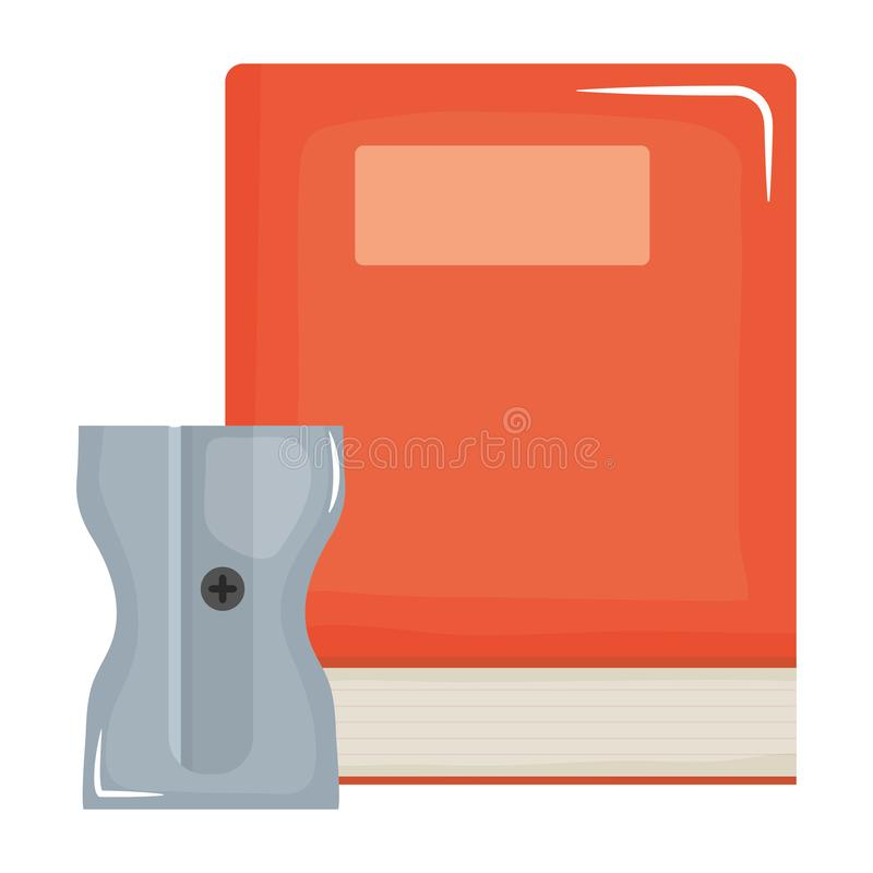 Text book school with sharpener royalty free illustration