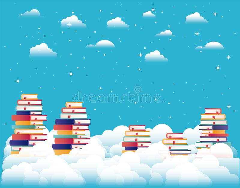 Text books in the sky stock illustration