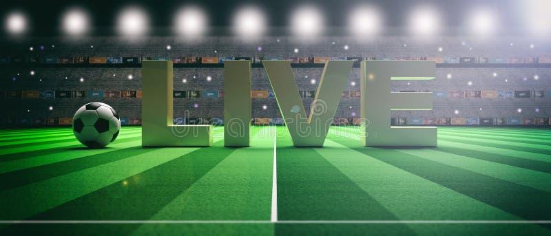 Text BOR på en bakgrund för fotbollfotbollfält illustration 3d royaltyfri illustrationer