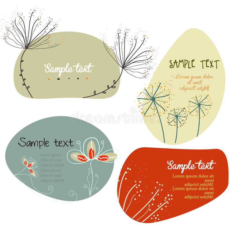 Text box with hand drawn flower royalty free illustration