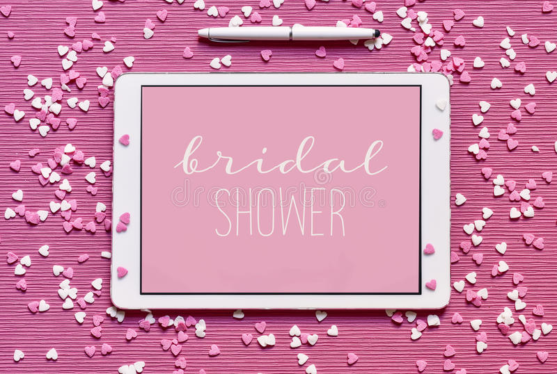 Text bridal shower in a tablet computer stock photography