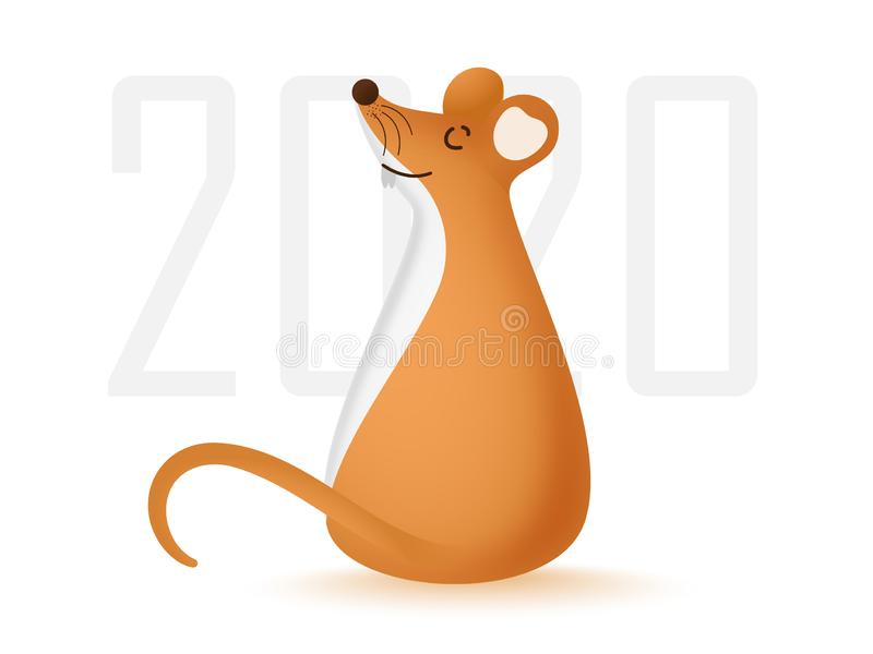 2020 Text with Brown Rat Cartoon. vector illustration