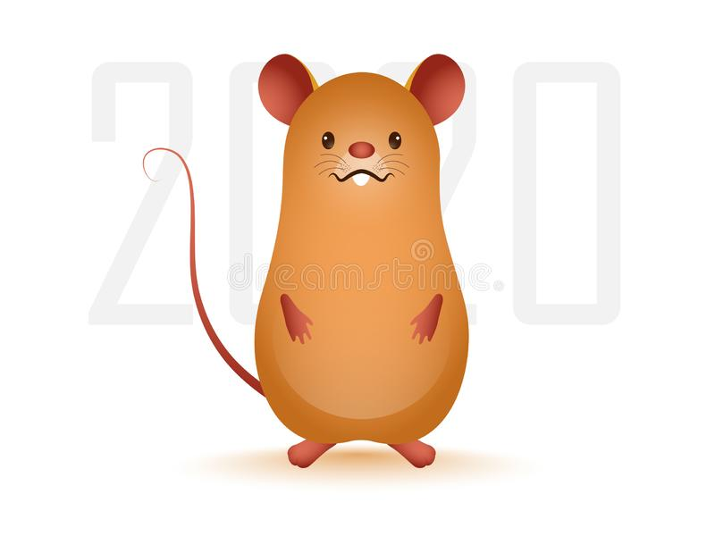2020 Text with Brown Rat Cartoon on White Background for Chinese New Year. stock illustration