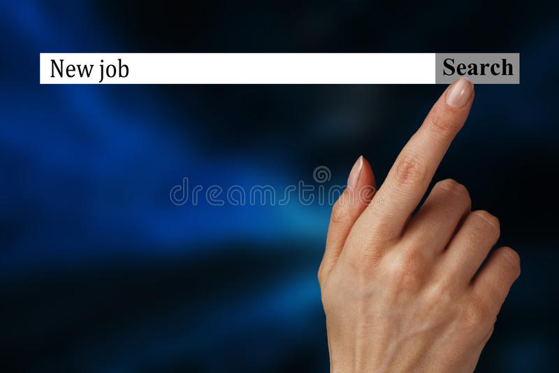 The text in the browser shows `New job`. Conceptual photo list of things that are going to become popular in this year. stock images