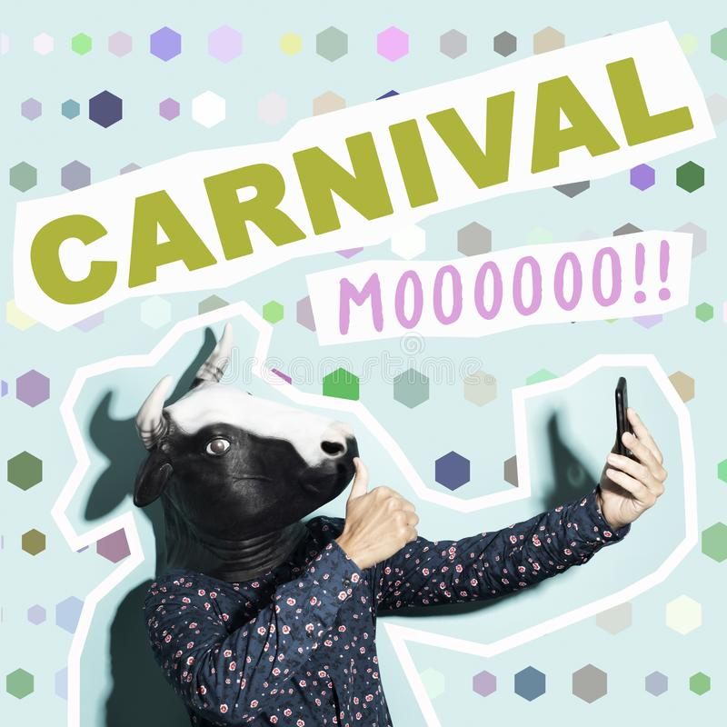 Cow and word carnival in contemporary art collage. Text carnival and a young caucasian man, with a cow mask, taking a selfie with a smartphone, on a blue stock photos