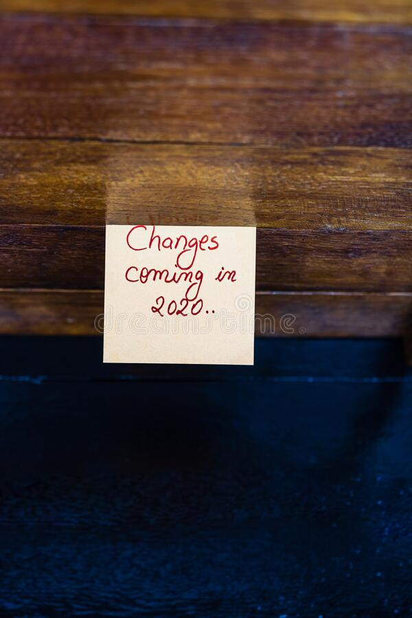 Text Changes coming in 2020 on memo post reminder. Copy space.  stock image