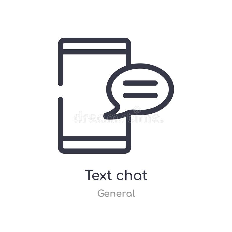 text chat outline icon. isolated line vector illustration from general collection. editable thin stroke text chat icon on white royalty free illustration