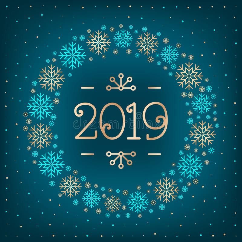2019 text Christmas card Happy New Year holiday greeting card. 2019 number, wreath of snowflakes, dark turquoise elegant vector illustration