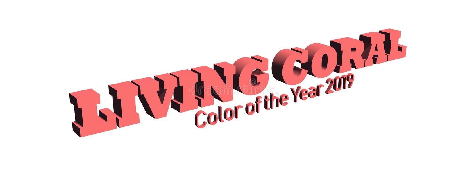 Text - Color of the year 2019, Living Coral - diagonally on white background. Text - Color of the year 2019, Living Coral - isolated diagonally on white royalty free illustration