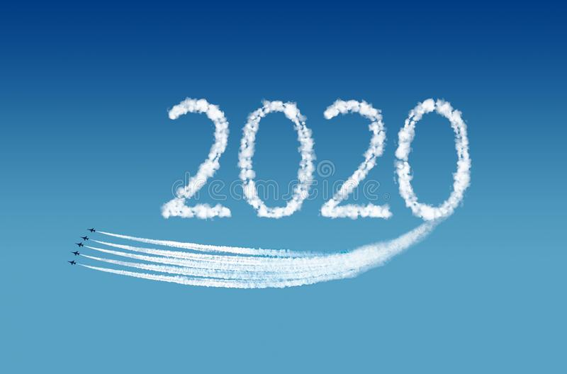 2020 text, computer graphics, represented by airplane trails. New Year Concept. royalty free stock images