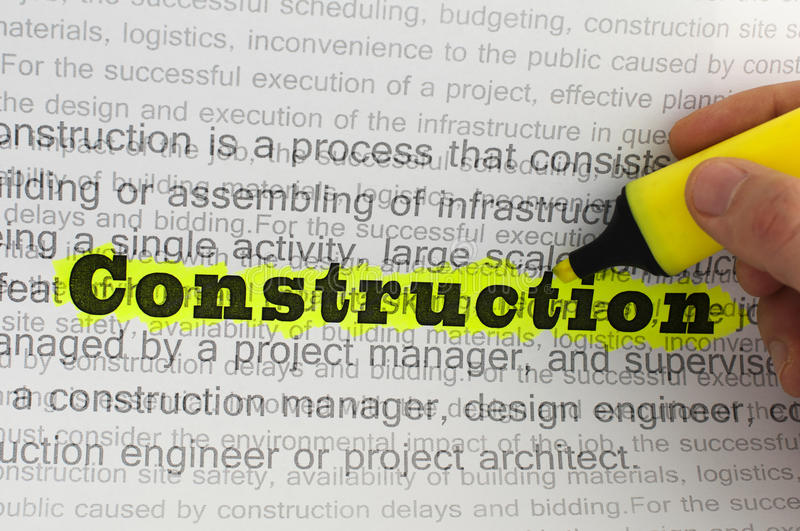 Text construction royalty free stock photography