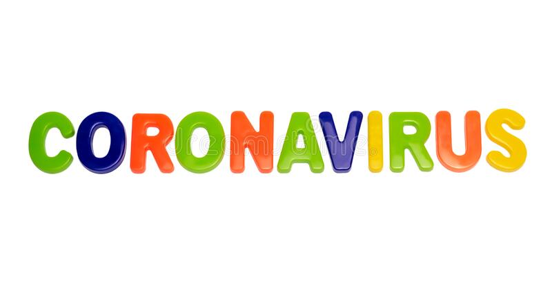 Text CORONAVIRUS on a white background royalty free stock images